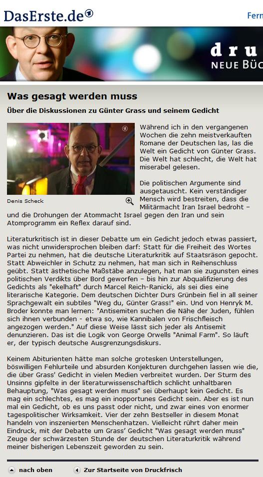 Denis Scheck zu Günter Grass